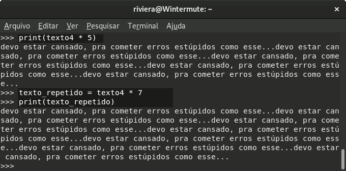 Captura de tela da shell do Python 3, mostrando código de multiplicação de uma string.