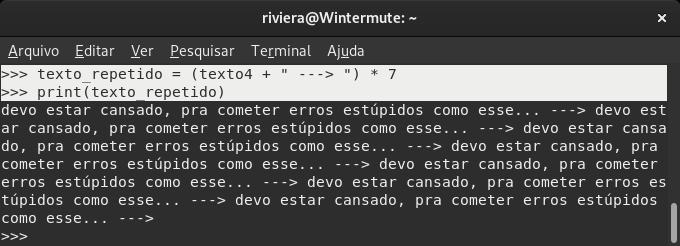 captura de tela da shell do Python mostrando código para multiplicar o conteúdo de uma string.