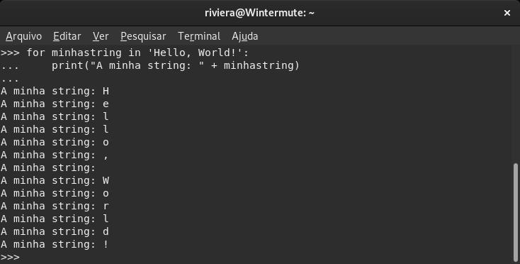Screenshot de um script em Python 3.