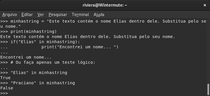 Captura de tela de uma shell com código em Python.