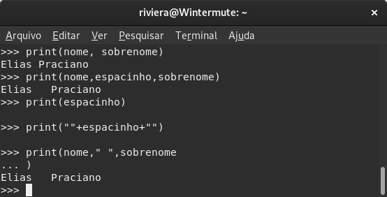 Captura de tela da shell do Python 3.